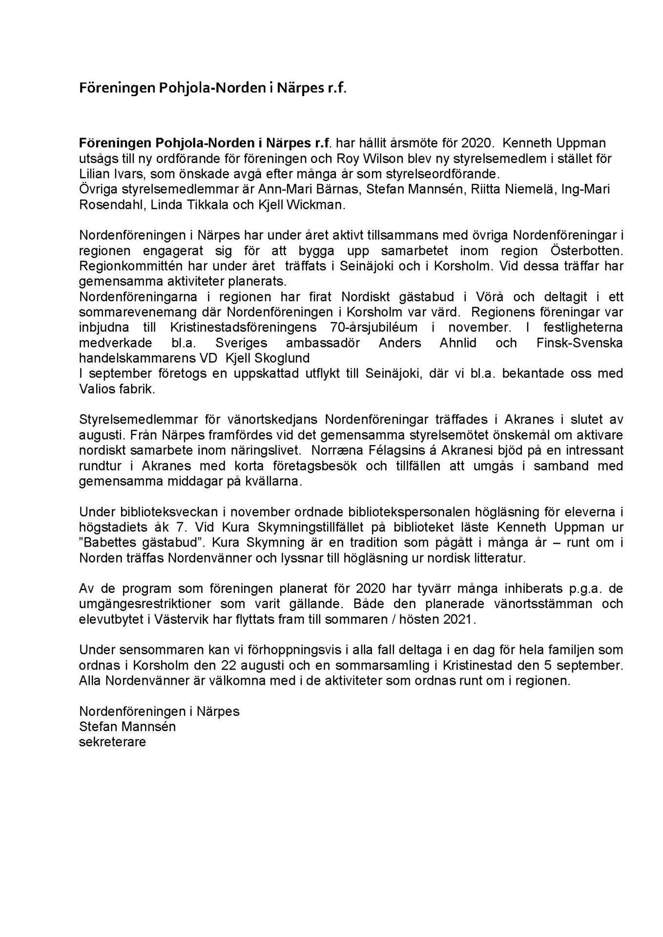 Nordenföreningen i Närpes, verksamhetsberättelse 2019.